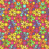 Star shape colorful geometric stained glass seamless pattern, vector Stock Photo