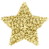 Star shape composed of small golden stars on white Royalty Free Stock Photography