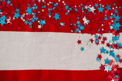 Star shape decoration arranged on American flag Royalty Free Stock Photo