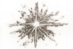 Star shape drawing illustration concept made of ash, dust, sand Stock Photos