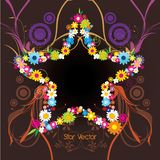 Star shape with flowers  illustration Royalty Free Stock Photos