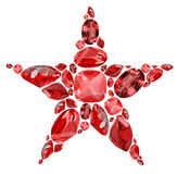 Star shape symbol from red ruby gems isolated on white Royalty Free Stock Photo