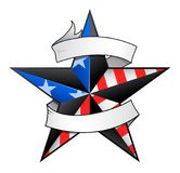 Star shape tattoo with the scroll. Star tattoo with USA flag elements and scroll for your text to add Stock Image