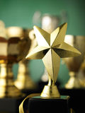 Star shape trophy. Star trophy standing out from others royalty free stock photos