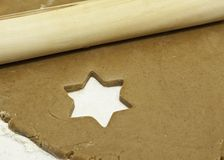 Star shape void in cookie dough Stock Images