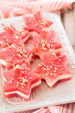 Star shaped appetizers. Star shaped watermelon sandwiches with soft cheese and nuts Royalty Free Stock Image