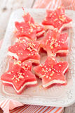 Star shaped appetizers. Star shaped watermelon sandwiches with soft cheese and nuts Royalty Free Stock Photography