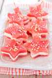 Star-shaped appetizers. Star shaped watermelon sandwiches with soft cheese and nuts Stock Photography