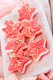 Star-shaped appetizers. Star shaped watermelon sandwiches with soft cheese and nuts Royalty Free Stock Image