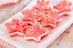 Star-shaped appetizers. Star shaped watermelon sandwiches with soft cheese and nuts Stock Photos