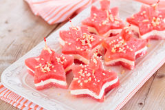 Star-shaped appetizers. Star shaped watermelon sandwiches with soft cheese and nuts Royalty Free Stock Photos