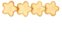 Star shaped biscuits. Bakery - Star shaped biscuit - Isolated on white - Abstract background Royalty Free Stock Images