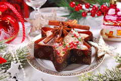 Star shaped cake with dried fruits for christmas stock photos