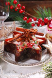 Star shaped cake with dried fruits  for christmas Royalty Free Stock Images