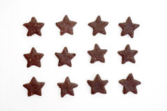 Star-shaped chocolate cookies Royalty Free Stock Photography