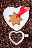 Star shaped christmas cookies and coffee beans Royalty Free Stock Image