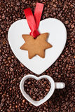 Star shaped christmas cookies and coffee beans Stock Photos