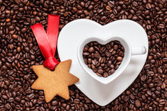 Star shaped christmas cookies and coffee beans Stock Images