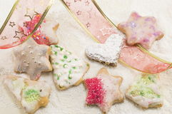 Star shaped Christmas cookies and decorative tape Stock Photo