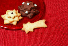 Star shaped christmas cookies on a plate Royalty Free Stock Image