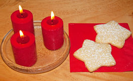 Star shaped Christmas cookies on red napkin Royalty Free Stock Images