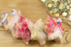 Star shaped Christmas cookies Stock Photo