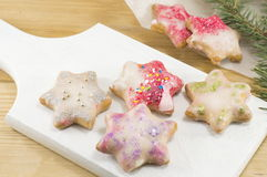 Star shaped Christmas cookies Stock Image