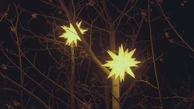 Star Shaped Christmas Decoration and Lights stock video footage