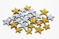 Star shaped christmas decorations on white background Royalty Free Stock Photos