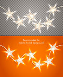 Star-shaped christmas lights on transparent background. Design element for banners, flyers and so. Royalty Free Stock Images