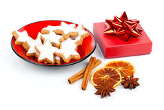Star shaped cinnamon biscuit Stock Images