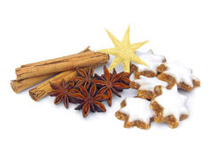 Star-shaped cinnamon biscuit Stock Photos
