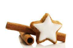Star Shaped Cinnamon Biscuit And Cinnamon Sticks Stock Image