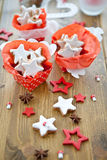 Star-shaped cinnamon cookies in gift boxes Royalty Free Stock Photography