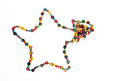 Star shaped colorful wooden beads necklace isolated on white Royalty Free Stock Images