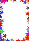 Star shaped confetti of different colors frame Royalty Free Stock Photo