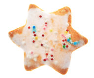 Star-shaped Cookie. Traditional winter star-shaped cookie isolated against a white background Stock Image