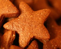 Star shaped Cookies. Chocolate Sugar Cookies close-up Royalty Free Stock Photos