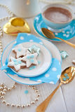 Star-shaped cookies for christmas with pistachios Royalty Free Stock Photography