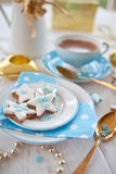 Star-shaped cookies for christmas with pistachios Stock Images