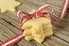 Star shaped cookies with red ribbon Stock Photos