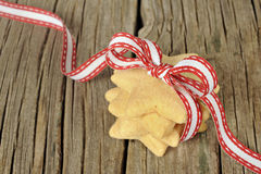 Star shaped cookies with red ribbon Royalty Free Stock Photo
