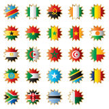 Star shaped flags - Africa. Star shaped flags set - Africa. 24 Vector flags royalty free illustration