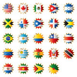 Star shaped flags - America. Big star shaped flags set - America (north, central & south). 24 Vector flags stock illustration