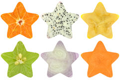 Star shaped fruit and vegetable. On white background Stock Photos