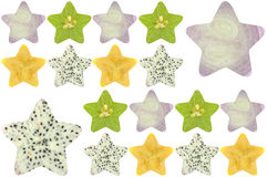 Star shaped fruit and vegetable. On white background Stock Photo