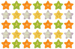 Star shaped fruit and vegetable. On white background Royalty Free Stock Photography