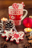 Star shaped gingerbread cookies with christmas decoration Royalty Free Stock Photography