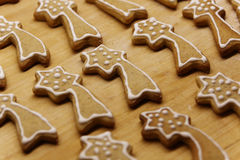 Star shaped gingerbread on a wooden table Royalty Free Stock Image