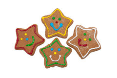 Star shaped gingerbred Christmas cookies Royalty Free Stock Image